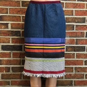 Neesh by D.A.R. Colorful Denim Skirt with Raw Edge